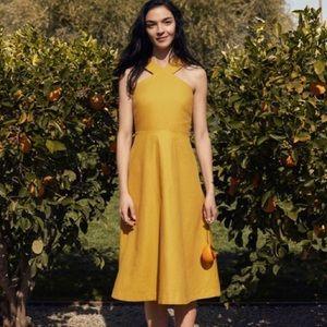 NWT Ann Taylor Mustard Yellow Halter Midi Dress